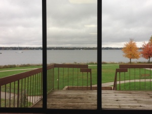 View of the lake from inside the wellness facility.  Great deck for post-workout sun & stretch!  I'd love to teach a yoga class there!!