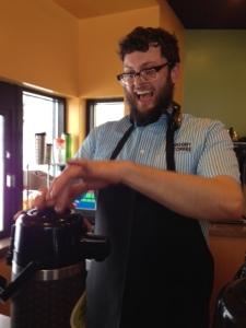 Biggby staff get us ready for the weather with some hot java