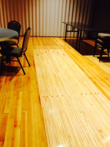 The beautifully restored flooring with a hint of the past