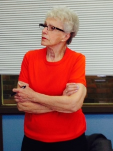 Mary Lou is all business during fitness checks!