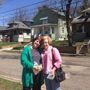 1st Ward Councilmember Jody Washington and Betty Draher in front of Betty's home